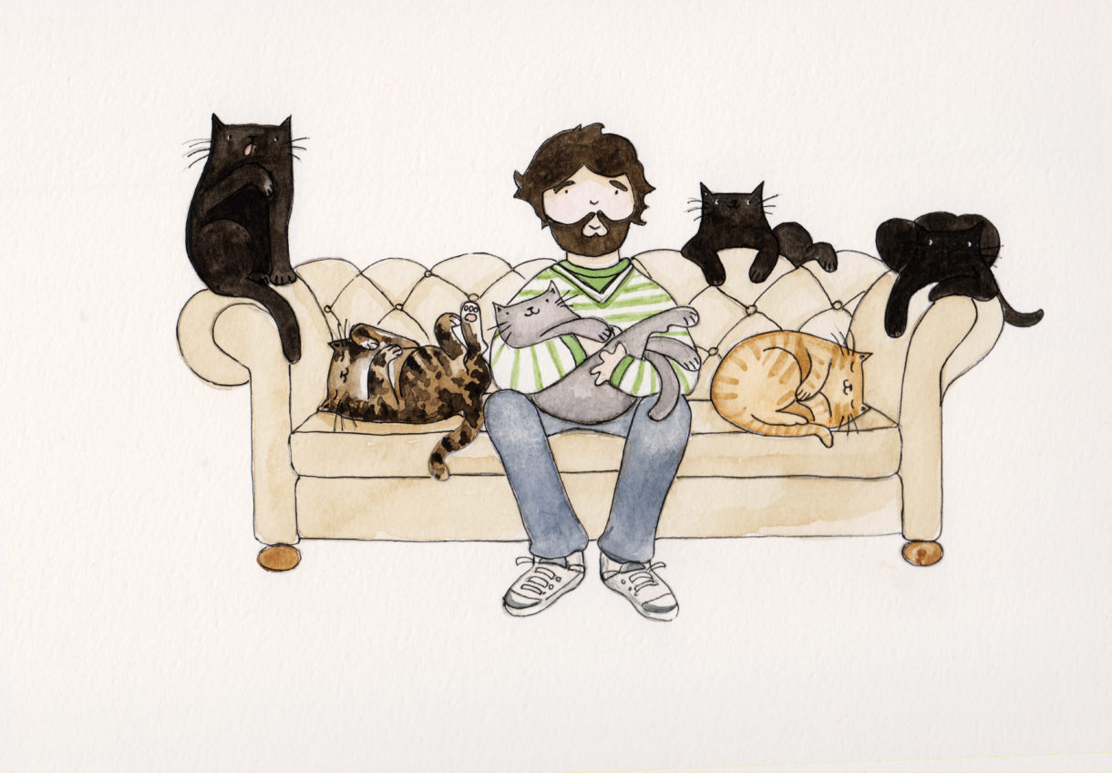 Tom Cox and his cats